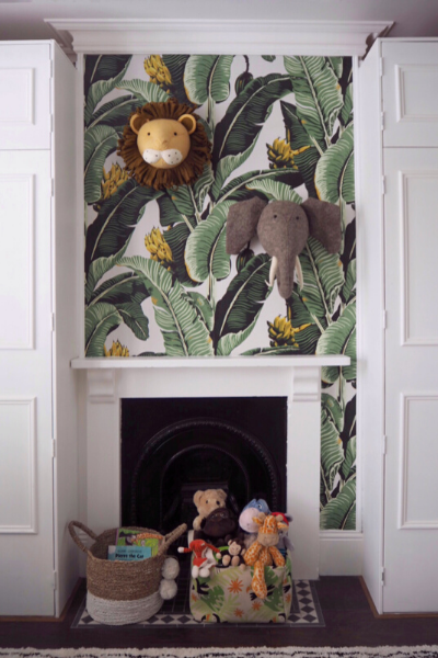 Leaf Print Wallpaper, Jungle Themed Nursery, Gender Neutral Nursery Design