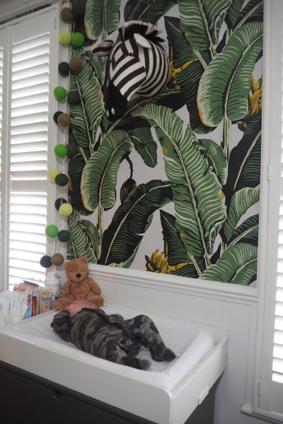 Jungle Themed Wallpaper, Gender Neutral Nursery Ideas, Leaf Print Wallpaper