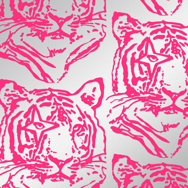 Pink Star Tiger wallpaper, nod to david bowie, perfect for kid's bedroom walls, as seen in rooomy magazine